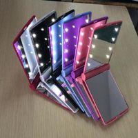 メイクアップミラーLEDライトミラーデスクトップポータブルコンパクト8 LEDライト照明旅行メークアップミラー