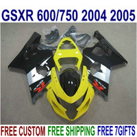 Kit de carénage ABS pour Suzuki GSXR 600 GSXR 750 2004 2005 K4 GSXR600 / 750 04 05 Blanc Black Jaune Jaune Cornings Ensemble U14J