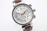 Dial blanco limitado Cinturón de cuero marrón Cronógrafo de cuarzo Función completa Tendencia Whatches White inoxidable puntero relojes para hombre relojes de pulsera