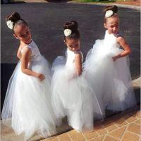 흰색 얇은 얇은 층 길이 꽃 소녀 드레스 결혼식을위한 싼 아이들 크리스마스 생일 파티 가운 보석 민소매 여자 미인트 드레스