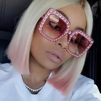 Aloz Micc الأزياء سكوير نظارات المرأة إيطاليا مصمم الماس نظارات الشمس السيدات خمر المتضخم ظلال الإناث حملق نظارات A327
