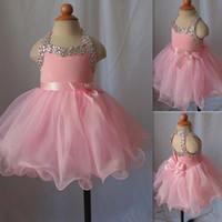 Toddler Pageant Dresses For Girls 2016 Pink Crystal Beaded Open Back Cupcake Pageant Gowns Tulle Ball Gown With Sash Bow Kids Prom Dress