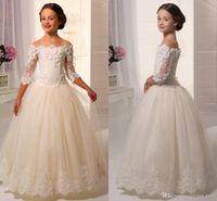 2019 новая девушка свадебные платья длиной длиной до пола кружевной рукав вне плеча элегантные прекрасные аппликаторы пухлые тюль цветок девушки платья принцесса