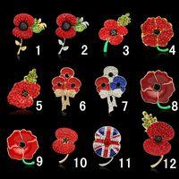 Spille Royal British Legion Red Crystal Beautiful Stunning Papavero Fiore Spille Pins per Lady Women Distintivo di moda Spilla come Princess Kate
