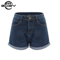 Wholesale- Plus Size High Waist Denim Shorts For Women Casua...