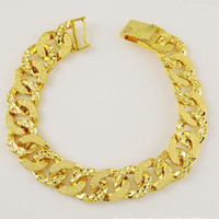 Patterned Wrist Chain 24k Solid Yellow Gold Filled Womens Me...