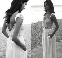 Abiti da sposa sexy spiaggia Spaghetti Neck Bow Lihi hod Beads Backless Lace Abiti da sposa Sweep Train Vintage Chiffon Wedding Dress