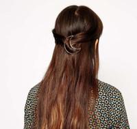 Haarspangen Schmuck Mode Frauen Elegante Kurze Hohe Qualität Gold Überzogen Aushöhlen Legierung Mond Haarspangen Hiar Acessories Großhandel SHR330