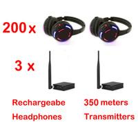 Casque professionnel silencieux Disco avec 3 canaux Système sans fil à prix avantageux pour iPod MP3, musique DJ (200 récepteurs + 3 TX)