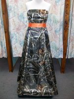 Custom Made Full Camo Wedding Bridesmaid Dresses Strapless Prom Dresses 2015 with Belt Formal Homecoming Gowns