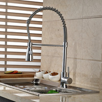Polished Chrome Brass Spring Kitchen Faucet Single Handle Ho...