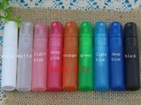 Frete Grátis Colorido 5 ml Plástico PP Spray Garrafa Garrafas Recarregáveis Frasco De Perfume com Bomba De Pulverização