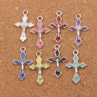 Enamel Crucifix Cross Jesus Saint Charms Pendants 200pcs lot...