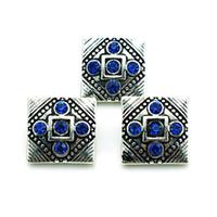 Moda 18mm Yapış Düğmeler Yüksek kalite Mavi Rhinestone Kare Metal Klipsler DIY Noosa Değiştirilebilir Takı Aksesuarları