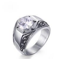 Anelli in argento massiccio singoli all'ingrosso Anelli in acciaio inossidabile lucido alto EURO-US Anello in oro bianco con diamanti per uomo