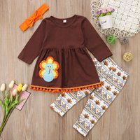 Kids girl clothes outfit thanksgiving T- shirt top + pant set...