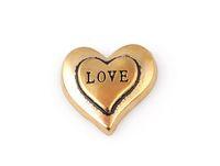 20PCS / lot 골드 컬러 사랑 편지 편지 매력, DIY 심장 부동 로켓의 매력 유리 메모리 로켓에 적합