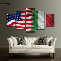 5 Panel Canvas Art Flag of the United States and Brazil Pain...