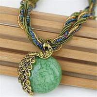 Regalos del partido de Bohemia de la vendimia de la gema cristalina del grano de la cadena hecha a mano de estilo retro del pavo real colgante collar de joyería de las mujeres