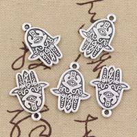80pcs Charme hamsa Hand 24 * 19mm Antike, Zinklegierungsanhänger gepasst, Weinlese-tibetanisches Silber, DIY für Armbandhalskette