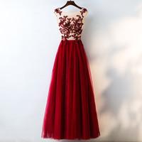 Robes de soirée en tulle Illusion Retour Wear 2020 Scoop Neck longues robes de soirée avec Appliques Drop Shipping