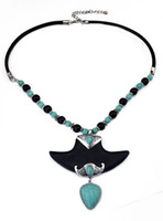 Böhmisches Weinlese-Silber Vergoldet Leder-Ketten-Türkis-Kragen-Halskette für Frauen