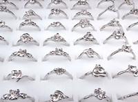 2016 neue preiswerte heiße Verkauf 100pcs Großhandelsschmucksachen verlosen KubikZircon Frauen Silber P Mode Ringe A-165