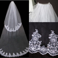 Dantel Katmanlı 2 Peçe Veils Beyaz / Fildişi Düğün Veils Gelin Veils Tarak Var