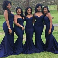 2018 African Dark Blue Mermaid Bridesmaid Dresses Sexy Spagh...