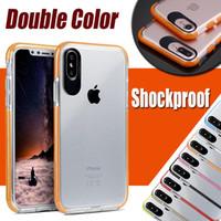 Doppio colore TPU + PC Transparet trasparente antiurto posteriore protettiva copertura di caso per iPhone XS Max XR X 8 7 6 6S Inoltre Samsung Galaxy S9 S8