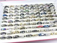 도매 100 PC의 / 많은 스테인레스 스틸 반지 패션 쥬얼리 파티 반지 제초 반지 무료 배송 혼합 무작위 스타일