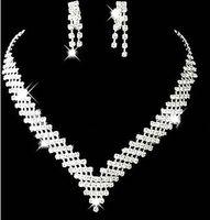 Cheap свадебные свадебные ювелирные изделия серьги серьги девочек ожерелье кристаллы формальные рождественские стразы со стразами