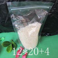 100 UNIDS 12 * 20 + 4 cm de Plástico Transparente zip lock embalaje Transparente PE envasado Secado de frutas té de té Bolsas de granos de pie Snacks food Beverage pouch