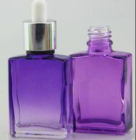 Weiße bereifte / glänzende 15ml 30ml eliquid Glas-Tropfflaschen für E-Saft quadratische Glasflaschen rechteckig grün lila blau