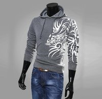 HOUSSES HOMME CASUAL AUTUMN MANCHES LONGUES Sweats HIP HOP HOODED LOOSE CONCEPTION IMPRIMÉ DRAGON HOODIES PLUS SZIE