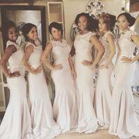 Neueste billige Spitze Meerjungfrau Brautjungfer Kleider Simple Chiffon Plus Size Formale Hochzeits-Party-Kleid mit Bowknot für Frauen