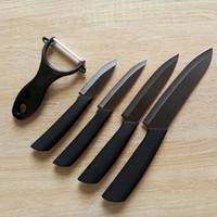 """Cooles matt schwarz Keramikmesserschäler Set 3 """"4"""" 5 """"6"""" Koch Paring Obst Utility Black Blade 5 stücke Set von meow"""