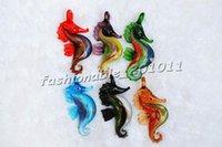 Sahorse Animal Multi-Color Lampework Murano Glass Pendentifs Colliers Grossistes Vente au détail gratuit # PDT84