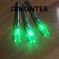 3ピックアーチェリー狩猟複合弓カーボン矢印テールライダーLEDライト矢印wid 6.2mm矢印緑色
