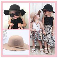 Sombrero de fieltro de lana bebé invierno niñas magnífico Bowknot Big Brim  Floopy sombreros Cap niños accesorios sombreros de niños sombreros casuales  8 ... 0085baa6685