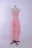 2015 rosa barato vestidos de baile com crsytal beading hi lo pageant dress vestidos de festa real imagem 100% chiffon party dress