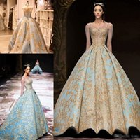 Michael Cinco 2018 Gold Spitze Ballkleid Prom Queen Kleider Modest Illusion Langarm Sky Blue Plus Size Dubai Arabisch Abendkleid