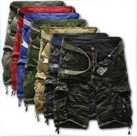 Atacado-quente! 2015 modelos de explosão relaxado casual camuflagem de cargas de camuflagem em tamanho grande multi-bolso shorts homens fifthbhermuda masculina