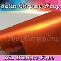 Metallic Matte Orange Vinylfolie - Air Drain Car Wrap Abdeckung Matt Chrome Foile Chrom Satin Auto Haut Grafiken Größe 1,52x20m / Rolle