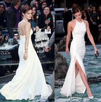2017 elegante Emma Watson Celebrity Kleider Neckholder rückenfreie weiße Chiffon Side-Split bodenlangen eleganten Abend Prom Kleider