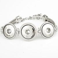 NBR855 Venta Caliente Broche BraceletBangles Pulsera Plateada Plata Alta Calidad DIY Botones a Presión Joyería 3 Snaps
