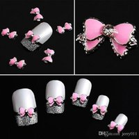 10Pcs 3D Pink Multi Rhinestones Bow Tie Nail Art Decoration ...