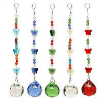 5PCS K9 Crystal Chandelier Prisms Pendant Hanging Butterfly ...