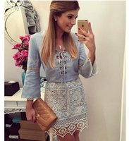 New Fashion Women Lace Up Denim Dress Patchwork Flared Long-...