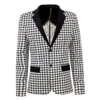 New Plaid Homens Blazer Masculino Slim Fit Manga Comprida Moda Estilo Mens Blazer Jacket